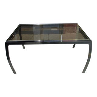 Design Institute of America Glass and Gunmetal Dining Table