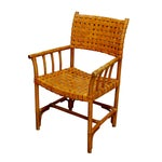 Image of Mid-Century Modern Woven Leather Strap Armchair