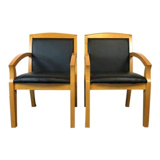 Mid-Century Modern Style Carved Oak & Black Leather Armchairs - A Pair
