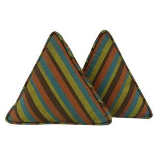 Mid Century Multi-Colored Striped Triangle Pillows - a Pair