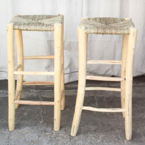 Moroccan Hand-Carved Bar Stools - A Pair - Image 5 of 5
