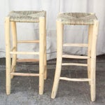 Image of Moroccan Hand-Carved Bar Stools - A Pair