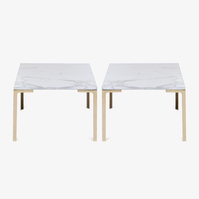 Astor Brass Occasional Tables in Carrara Marble by Montage, Pair - Image 2 of 4