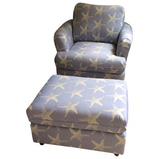 """Starfish Blue"" Chair & Ottoman Set"