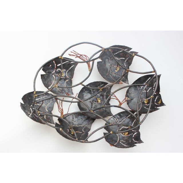 Torch Cut Metal Wall Sculpture - School of Fish - Image 5 of 6