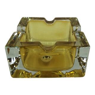 Vintage West German Yellow Art Glass Ashtray