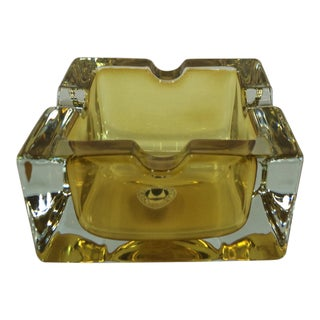 Vintage West German Yellow Art Glass Ashtray