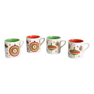 Mid-Century Holiday Mugs - Set of 4