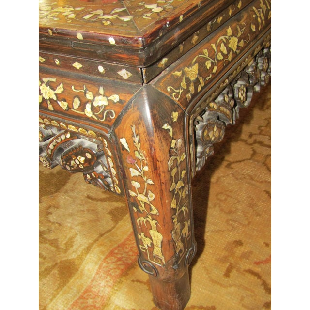 Carved Wood & Mother of Pearl Mirrored Coffee Table - Image 3 of 6
