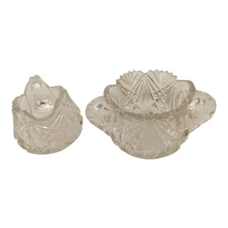 Lead Crystal Sugar and Creamer Set - A Pair