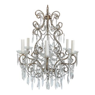 Beaded Bronze & Crystal Chandelier