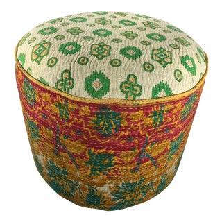 Kantha Quilt Ottoman