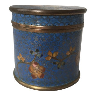 Floral Detailed Cloisonné Lidded Canister