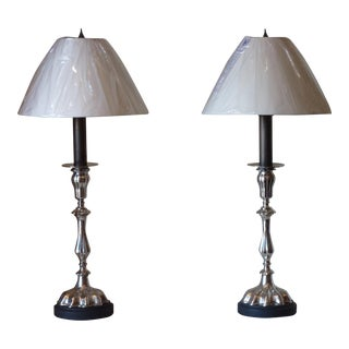 Silvered Candlestick Lamps- A Pair