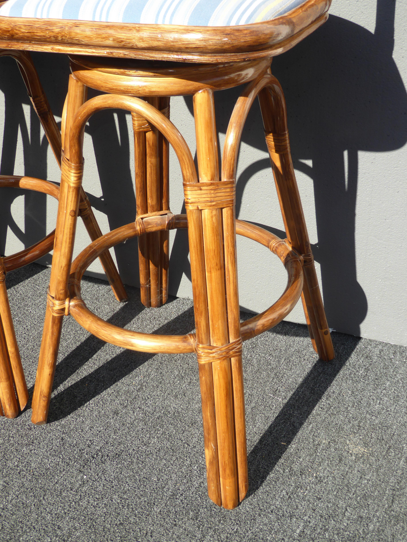 image of vintage tiki palm beach bamboo rattan bar stools a pair