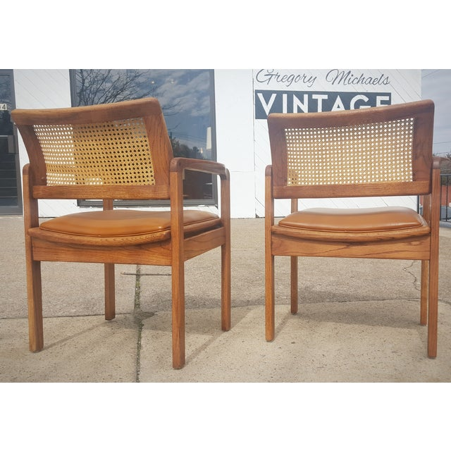 Image of Vintage Rattan Back Guest Armchairs - Pair