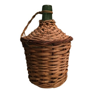 Vintage Wicker & Glass Demijohn Bottle