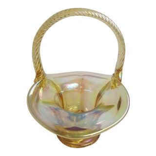 Fenton Pale Yellow Carnival Glass Basket