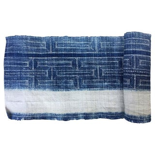 Hand Woven Indigo Fabric with Batik - 2.6 Yards
