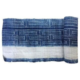 Hand Woven Indigo Fabric with Batik - 2.6 Yards