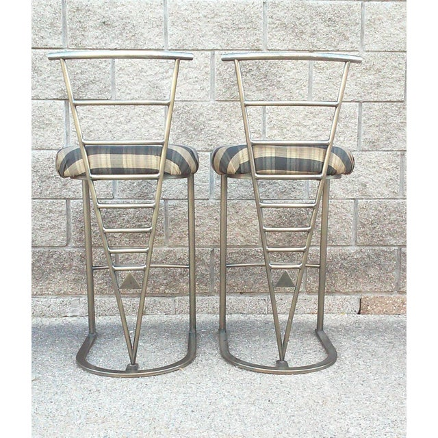 Milo Baughman Bar Stools -- A Pair - Image 5 of 10