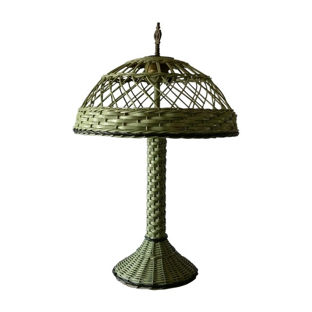 Antique Haywood Wakefield Era Wicker Table Lamp - Image 1 of 10