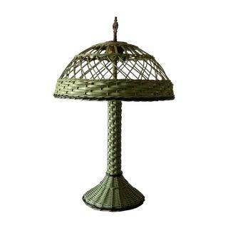 Antique Haywood Wakefield Era Wicker Table Lamp