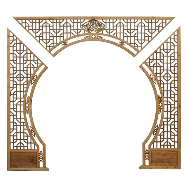 Chinese Arch-Shaped Wooden Panels - Set of 3 - Image 2 of 9
