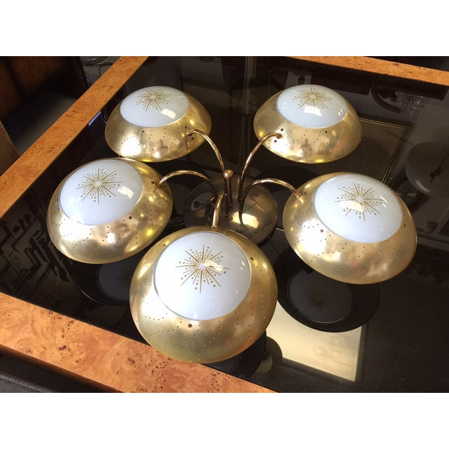 Mid-Century Atomic 50s Brass Chandelier - Image 2 of 3