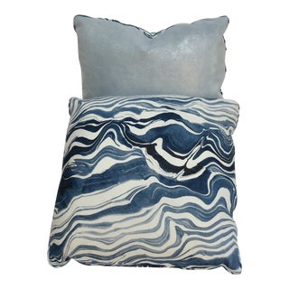 Baby Blue Marble Striped Pillow