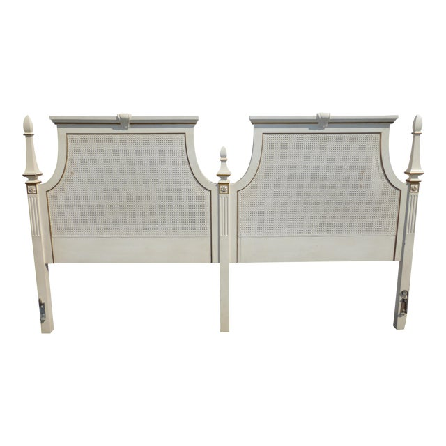 French Provincial White & Gold Cane Headboard - Image 1 of 11