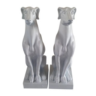 White Whippet Statues - A Pair
