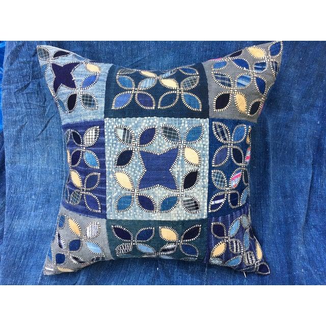 Tribal Patchwork Antique Indigo Textile Pillow - Image 2 of 9