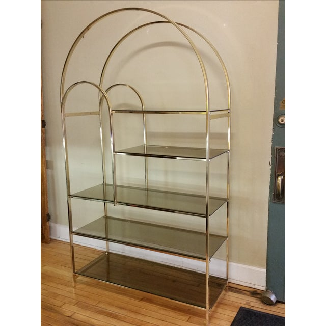 Hollywood Regency Double Waterfall Brass Etagere - Image 3 of 10