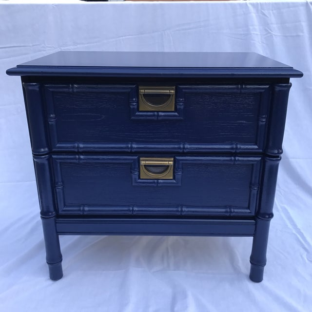 Navy Faux Bamboo Side Table - Image 2 of 6