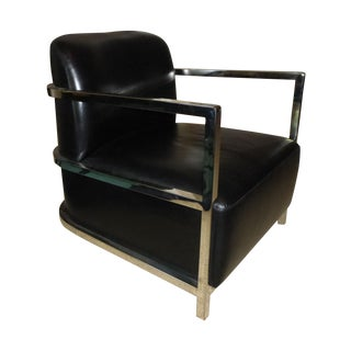 Le Corbusier Style Chrome & Black Leather Chair