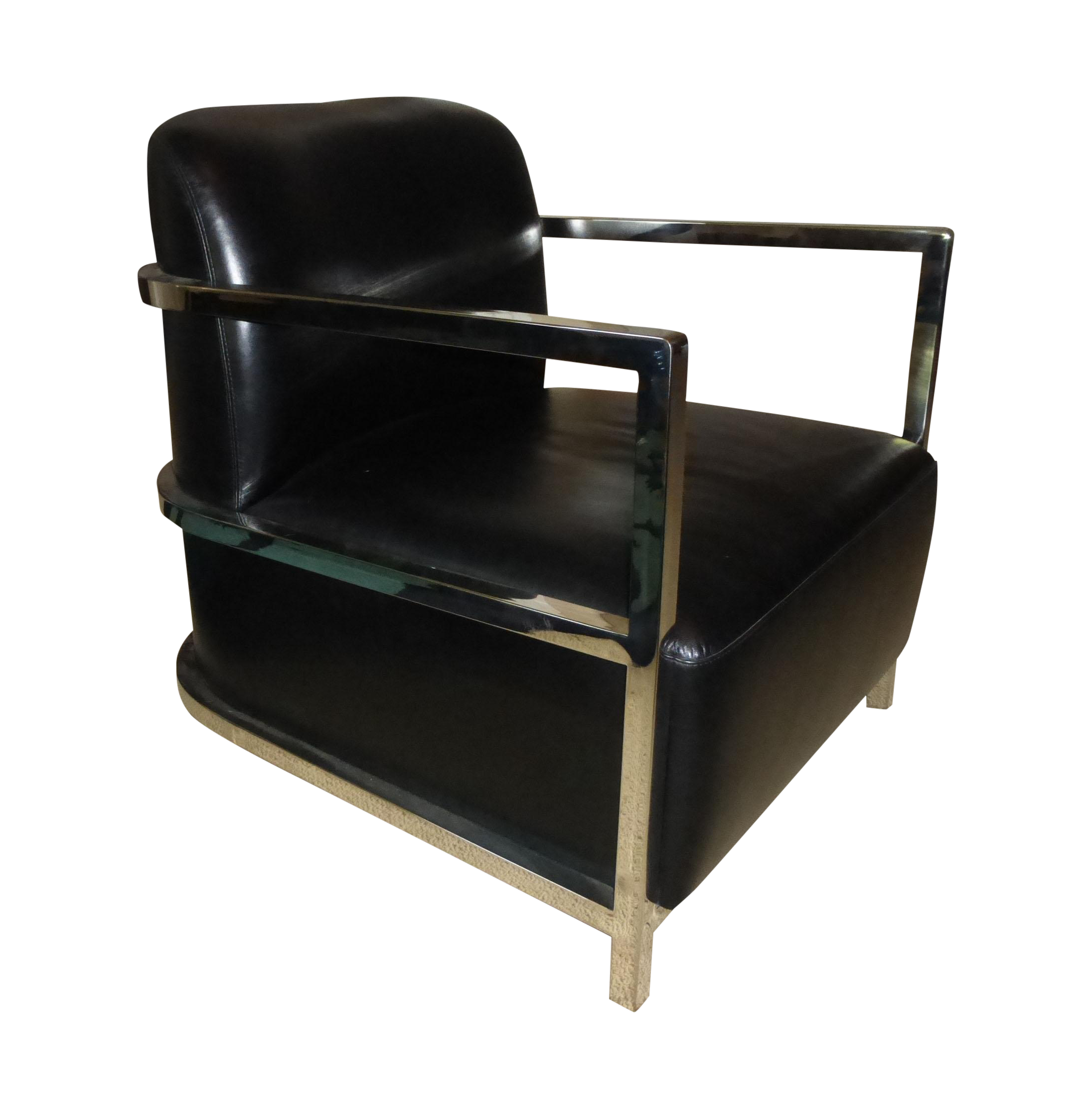 Le Corbusier Style Chrome U0026 Black Leather Chair   Image 1 Of 11