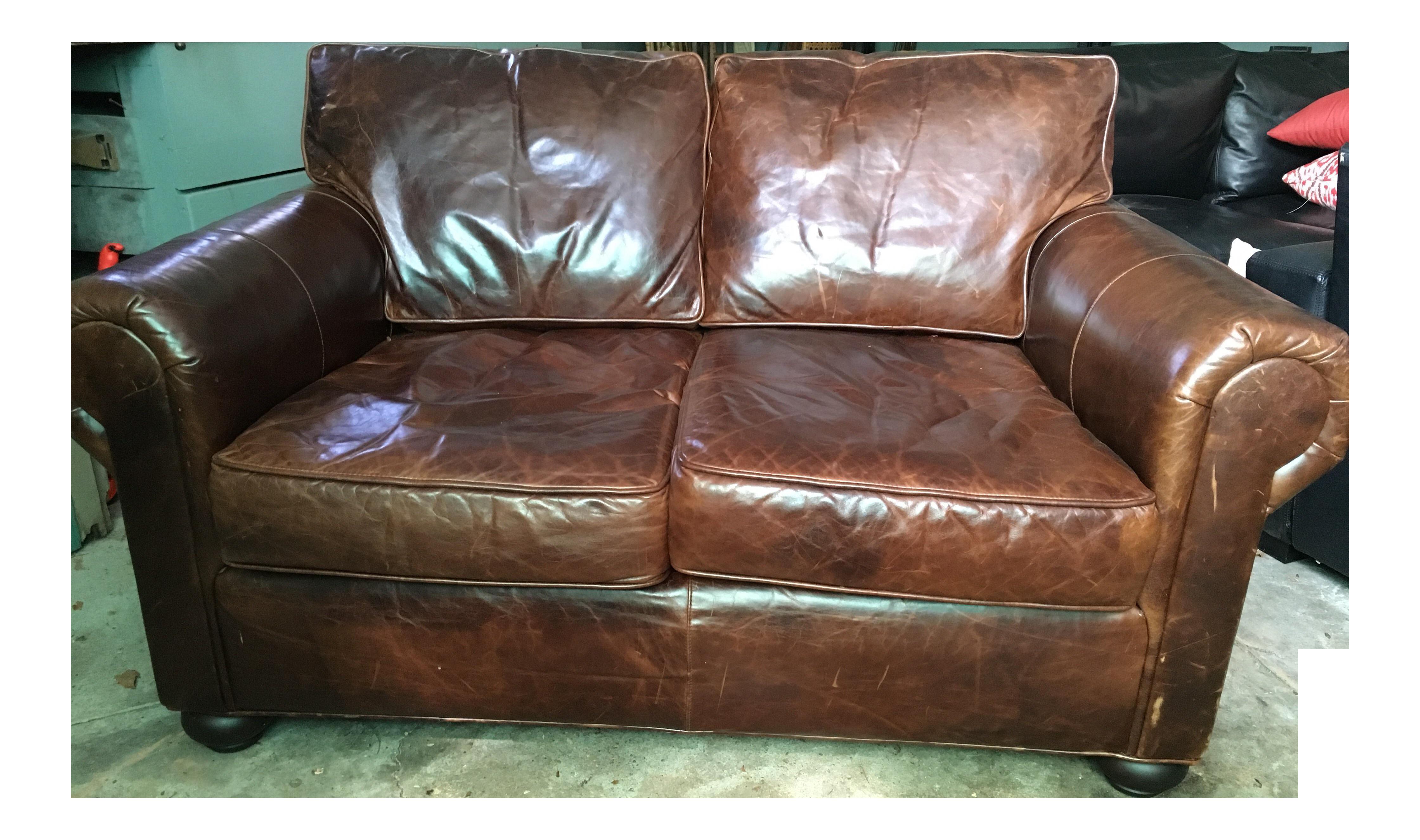 Image Of Restoration Hardware Brown Leather Sofa
