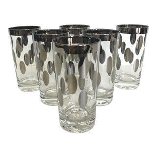 Silver Dot Highball Cocktail Glasses - Set of 6