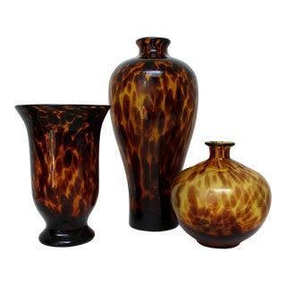 Tortoise Glass Vases, Set of 3