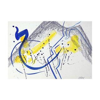 Blue & Yellow Abstract by Doris Warner