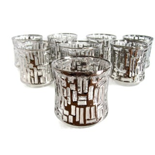 Mid-Century Artica Lowball Glasses, Silver Bamboo