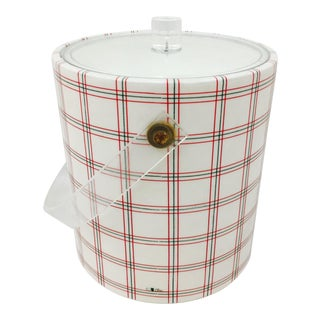 Retro Red Plaid & Lucite Ice Bucket