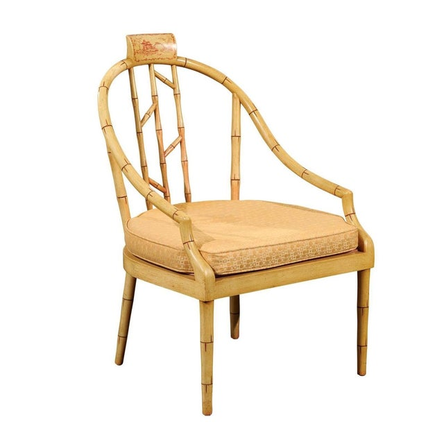 Hollywood Regency Bamboo Armchair - Image 1 of 7