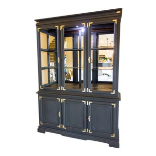 Graphite Black Chalk Painted Chinoiserie Style China Cabinet