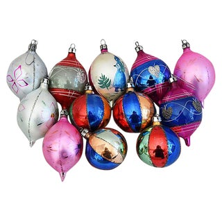 Mid-Century Fancy Christmas Ornaments w/Box - Set of 12