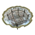 Image of La Barge Scalloped Solid Brass Tray, Faux Bamboo Metal Base Coffee Table