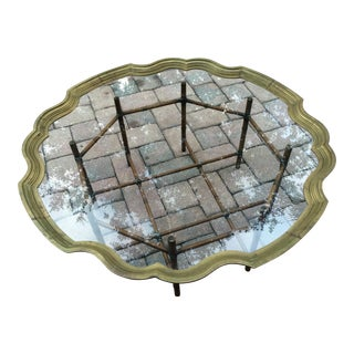 Scalloped Solid Brass Tray Faux Metal Bamboo Base Coffee Table by La Barge