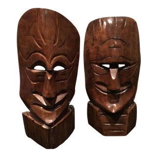Mid-Century Modern Carved Wood Tiki Masks - A Pair
