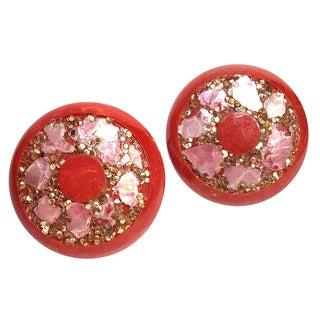 Red Bakelite Clip Back Earrings
